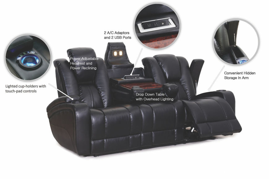 Picture of Reclining Sofa with Power in Black